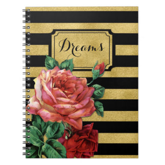 Gold Stripes Rose Flower by Jo Sunshine Notebook