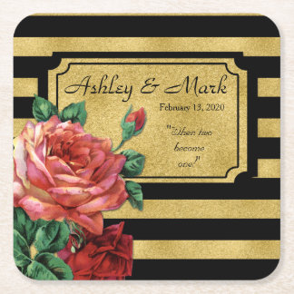 Gold Stripes Rose Flower by Jo Sunshine Wedding Square Paper Coaster