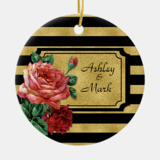 Gold Stripes Rose Flower Ornament by JoSunshine