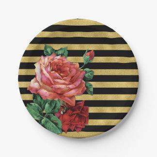Gold Stripes Rose Flower Paper Plates JoSunshine