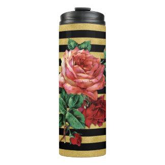 Gold Stripes Rose Flower Thermal Tumbler