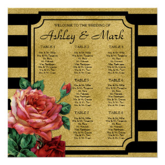 Gold Stripes Rose Flower Wedding Seating Chart Perfect Poster