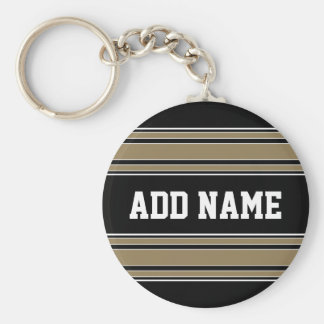 Gold Stripes Sports Jersey Name - CAN EDIT COLOR Keychain