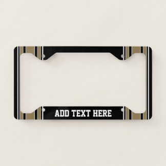 Gold Stripes Sports Jersey Name - CAN EDIT COLOR License Plate Frame