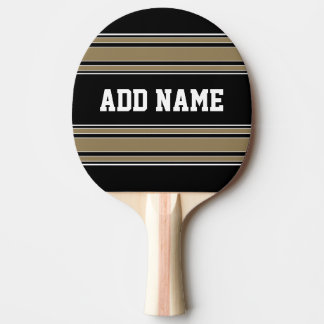 Gold Stripes Sports Jersey Name - CAN EDIT COLOR Ping Pong Paddle