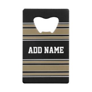 Gold Stripes Sports Jersey Name - CAN EDIT COLOR Wallet Bottle Opener