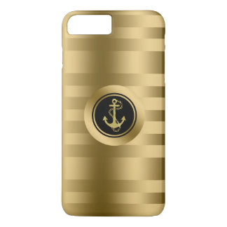 Gold Stripes With Nautical Anchor iPhone 7 Plus Case