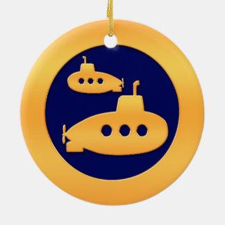Gold Submarines Ceramic Ornament