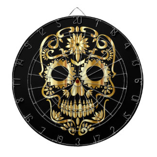 Gold Sugar Skull Dartboard