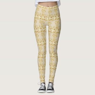 Gold sugar skull motif leggings