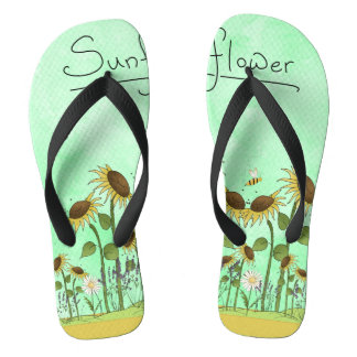 Gold Summer Sunflower Illustration on Mint Green Flip Flops