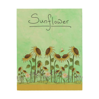 Gold Summer Sunflower Illustration on Mint Green Wood Print