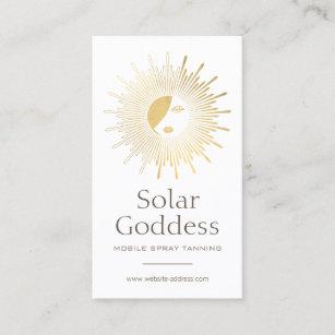 Sun logo business cards profile cards zazzle ca gold sun goddess girl spray tanning salon logo i business card reheart Choice Image