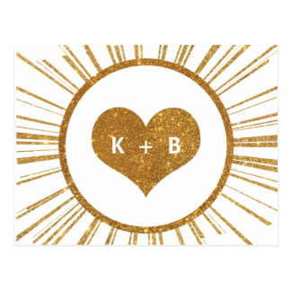 Gold Sunburst Art Deco Save the Date Card