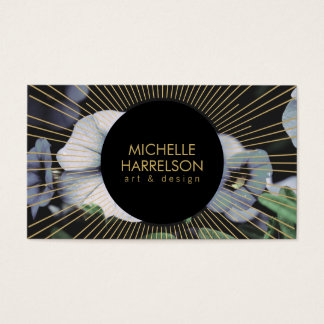 Gold Sunburst on White Flowers Business Card