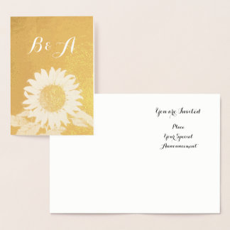 GOLD SUNFLOWER  RUSTİC SUMMER WEDDING  MONOGRAM FOIL CARD