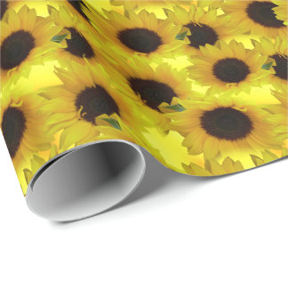 Gold Sunflower Wrapping Paper Yellow Flower Paper
