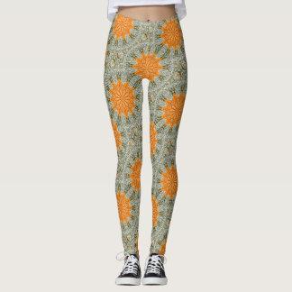 gold suns geometric design leggings