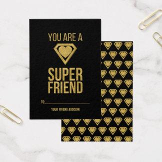Gold Superhero Friend Classroom Valentine Card