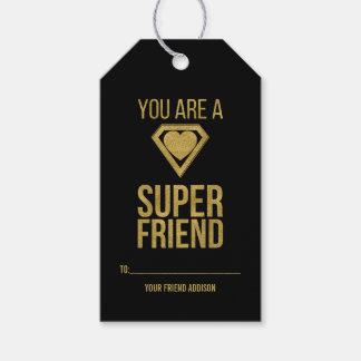 Gold Superhero Friend Classroom Valentine Gift Tag
