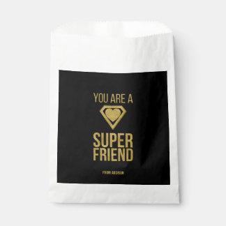 Gold Superhero Friend Valentine Favor Bag