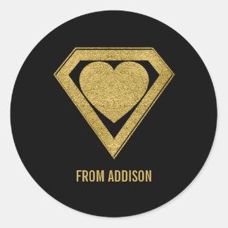 Gold Superhero Friend Valentine Sticker