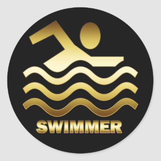 GOLD SWIMMER CLASSIC ROUND STICKER