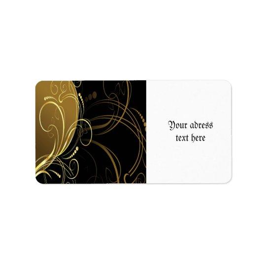 gold swirl,floral,black,chic,modern,design,elegant