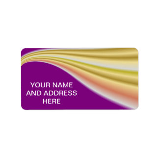 Gold swirl on purple background personalized address labels