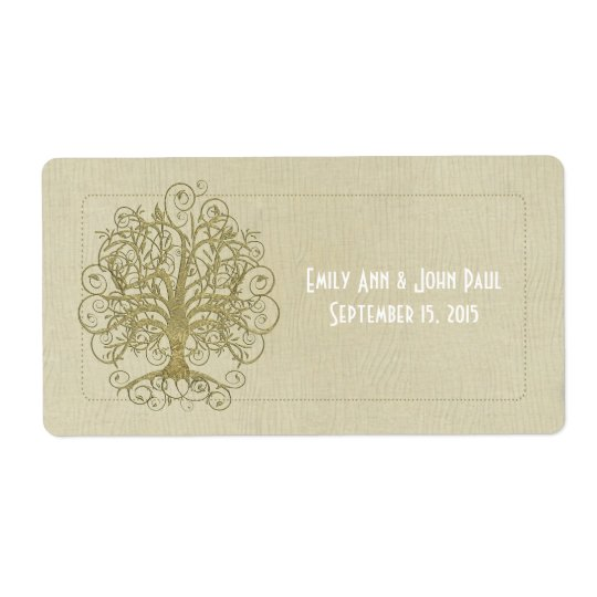 Gold Swirl Tree on Wood Grain Dots Save the Date Shipping Label