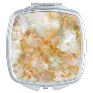 Gold Swirled Marble Compact Mirror