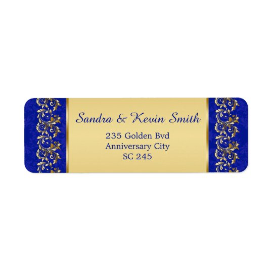 Gold swirls 50th Wedding Anniversary Address label