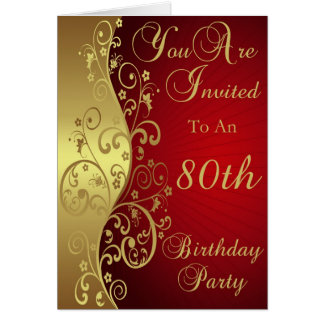 Gold Swirls 80th Birthday Party Invitation Greeting Card