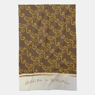 Gold Swirls & Brown Personalized Towel
