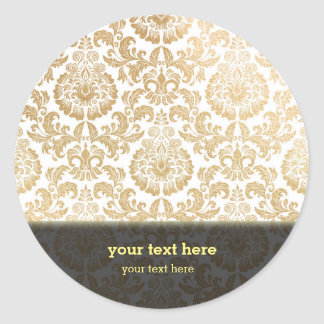 Gold swirls damask classic round sticker