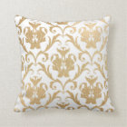 Gold swirls damask throw pillow