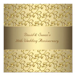 "Gold Swirls Gold 50th Wedding Anniversary Party 5.25"" Square Invitation Card"