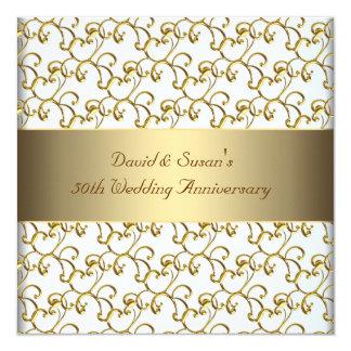 Gold Swirls Gold 50th Wedding Anniversary Party Card