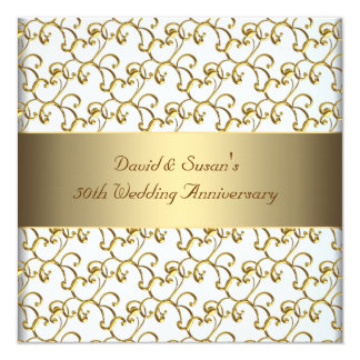 Gold Swirls Gold 50th Wedding Anniversary Party Personalized Announcement