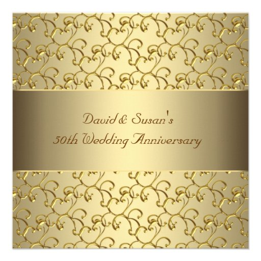 Gold Swirls Gold 50th Wedding Anniversary Party Personalized Invitation