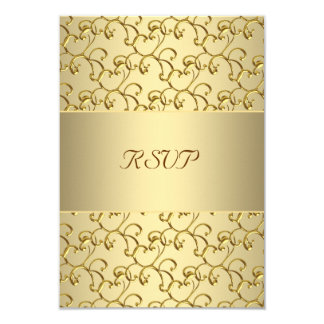 "Gold Swirls Gold 50th Wedding Anniversary RSVP 3.5"" X 5"" Invitation Card"