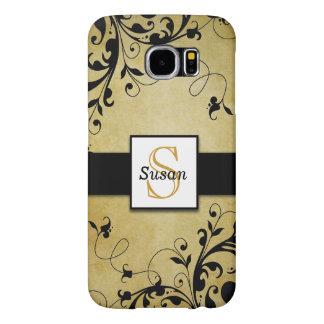 Gold Swirls Monogram Samsung Galaxy S6 Cases