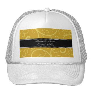 gold swirls wedding favors trucker hat