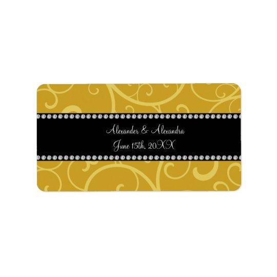 gold swirls wedding favours label