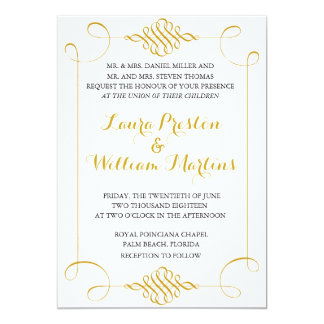 Gold Swirls Wedding Invitation