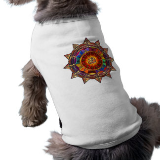 Gold Symbolic Sun Mandala Doggie Tee Shirt
