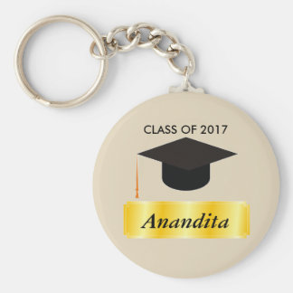 Gold Tag Graduation Basic Round Button Keychain