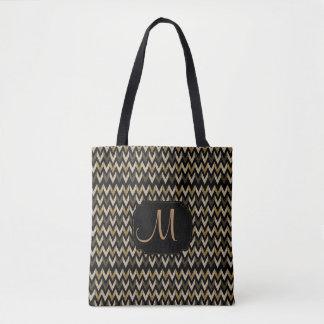 Gold, Tan & Black Chevron Design Tote Bag