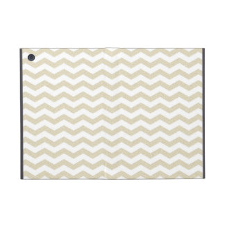 Gold taupe chevron zig zag textured zigzag pattern iPad mini case