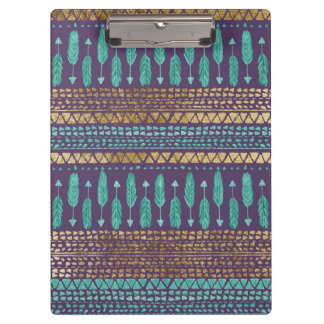 Gold Teal and Purple Arrows Tribal Aztec Pattern Clipboard